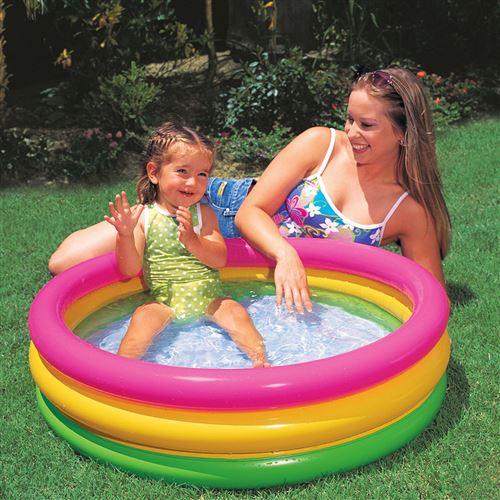 intex piscine gonflable bebe 3 anneaux multicolores 58924