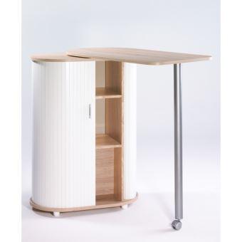 table pivotante et meuble de rangement de cuisine chene naturel blanc