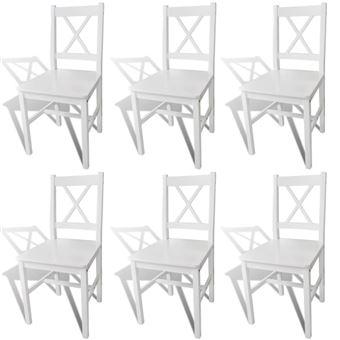 vidaxl chaise de salle a manger 6 pcs bois blanc