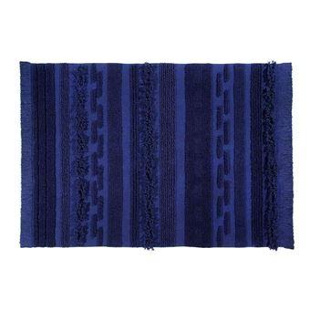 tapis de salon lavable en machine bleu air lorena canals