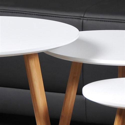 venus 3 tables gigognes rondes scandinave blanc laque avec pieds en bois massif l 50 x l 50 cm l 40 x l 40 cm et l 30 x l 30