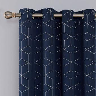 deconovo lot de 2 rideaux occultants bleu marine isolant thermique rideaux a oeillets motif de lossange imprimes argents pour enfant rideaux chambre