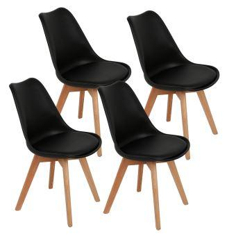 chaises de salle a manger scandinaves noir et bois 82 cm lot de 4