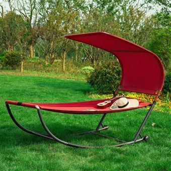 transat de jardin transat a bascule avec pare soleil et 2 roulettes chaise longue a bascule bain de soleil confortable rouge ogs44 r sobuy