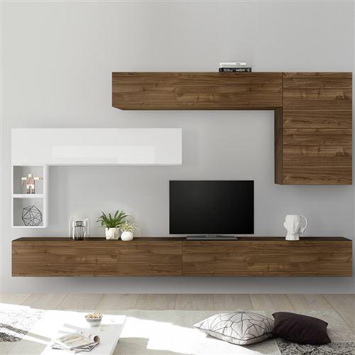 ensemble meuble tv mural couleur bois et blanc piana l 275 x p 30 x h 200 cm