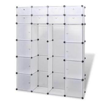 armoire penderie cube modulable etagere de rangement vetement en plastique 18 compartments 37 x 150 x 190 cm