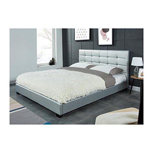 amsterdam lit adulte 140 x 190 cm avec tete de lit capitonnee sommier coloris argent