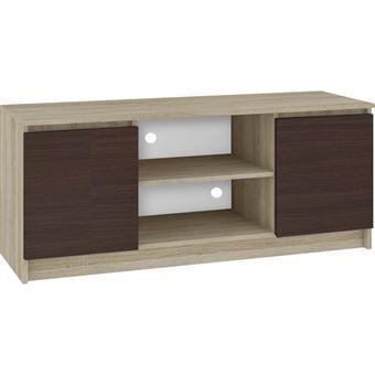 dusk meuble bas tv contemporain salon sejour 140x55x40 cm 2 niches 2 portes rangement materiel audio video gaming sonoma wenge