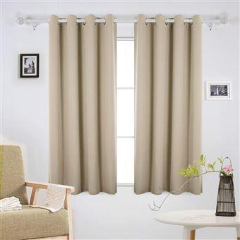 deconovo lot de 2 rideaux occultants isolant thermique rideau occultant a oeillet rideau pour maison 132x213cm beige