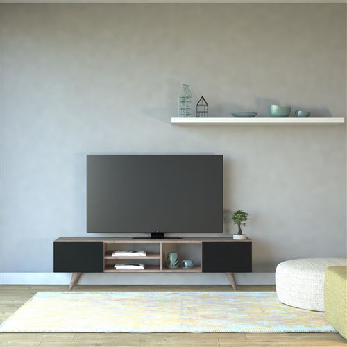 homemania meuble tv dore moderne avec portes etageres pour salon noyer noir en bois 160 x 29 7 x 40 6 cm