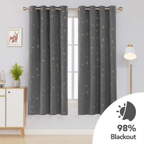 deconovo lot de 2 rideau occultant a oeillets rideaux courts chambre rideau thermique isolant rideaux dore avec motif pour chambre 117x183cm gris