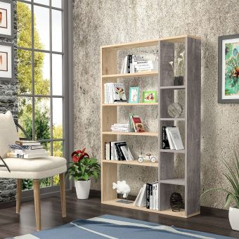 homemania bibliotheque nova avec etageres meuble de rangement pour salon bureau chene gris fonce en bois 98 6 x 22 x 150 cm
