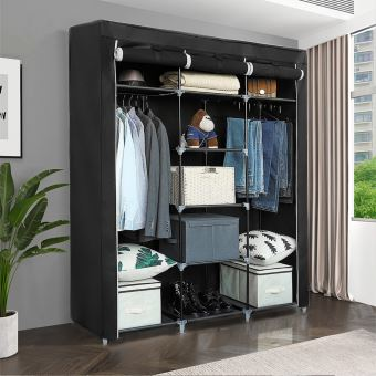 armoire rangement noir meuble chambre en tissu impermeable anti poussiere grande capacite