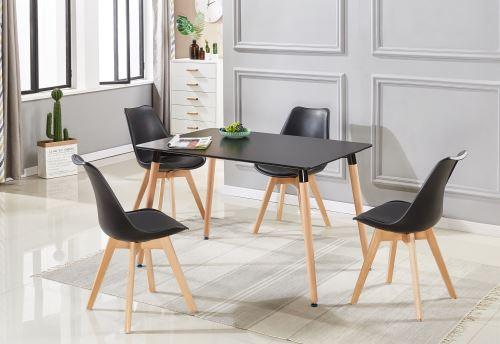 ensemble table et 4 chaises noires scandinaves lorenzo