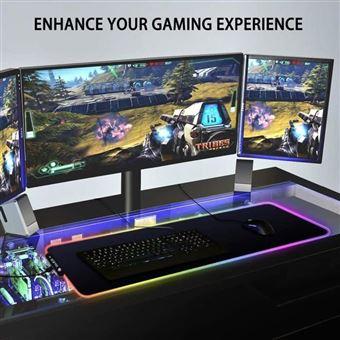 tapis de souris gaming xxl lumineux led couleur grand sous main bureau gamer