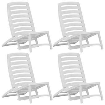 vidaxl chaise de plage pliable 4 pcs plastique blanc
