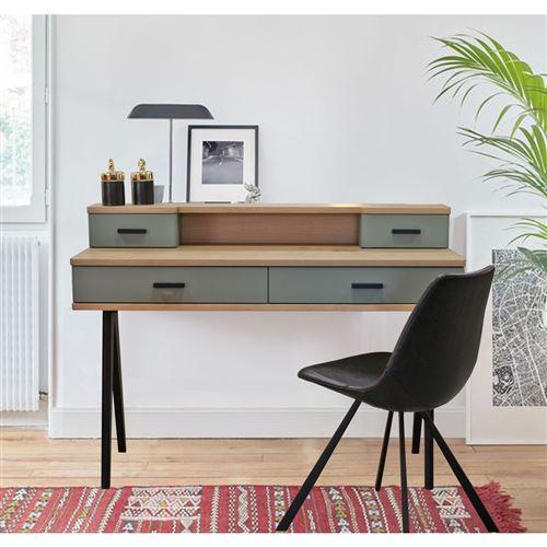 bureau 4 tiroirs style scandinave chene blanchi et laque vert sauge pirotais vert