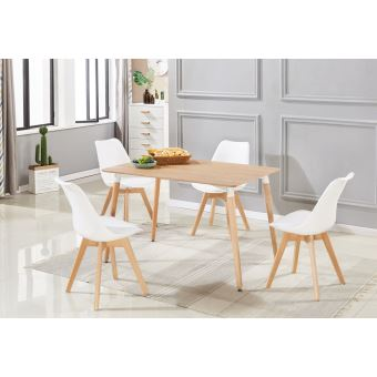 ensemble salle a manger moderne lorenzo table effet chene 4 chaises blanches design scandinave