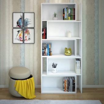 homemania bibliotheque samba extensible avec etagere pour mur bureau salon blanc en bois 140 x 22 x 180 cm