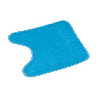 tapis contour wc 45x45 cm uni bleu turquoise 100 microfibre