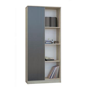 skopje bibliotheque contemporaine salon bureau sejour 80x33x180 cm meuble rangement moderne livres deco 4 niches sonoma wenge