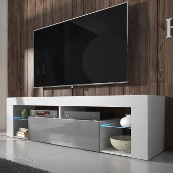 hugo meuble tv blanc mat gris brillant avec led