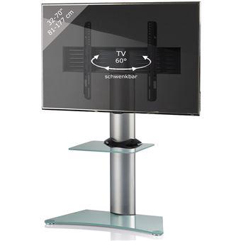 vcm support tv stand zental verre mat avec etagere verre givre