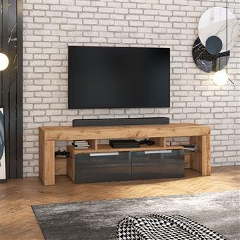 meuble tv vergon chene lancaster noir brillant sans led