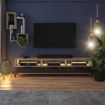 meuble tv rikke 160 cm chene wotan noir brillant avec led
