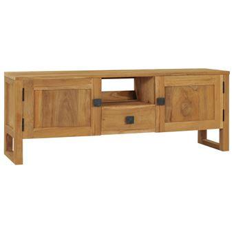 meuble tv 120x32x45cm bois de teck massif