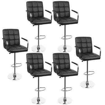 lot de 6 chaise tabouret de bar noir siege doux avec accoudoirs hauteur reglable 55 75cm
