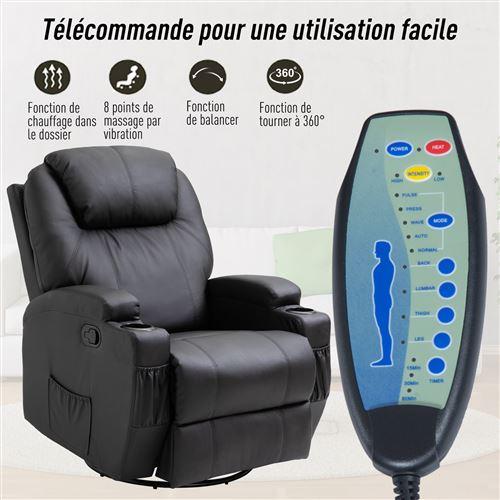 290 Sur Fauteuil De Massage Relaxation Electrique Chauffant Inclinable Pivotant 360 Avec Repose Pied Ajustable P U Noir Fauteuil Massant Achat Prix Fnac
