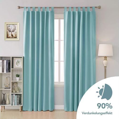deconovo lot de 2 rideau pour porte fenetre rideau occultant isolant thermique rideau balcon interieur a pattes 132x242cm bleu ciel