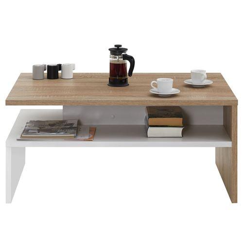 table basse adelaide en melamine decor chene sonoma et blanc mat