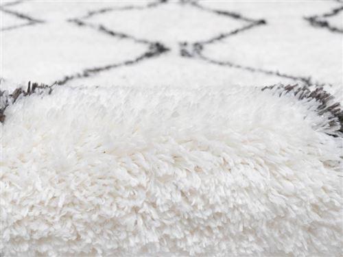 tapis rond shaggy style berbere minea polyester d 160 cm beige et gris