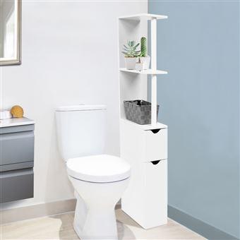 15 Sur Meuble Wc Etagere Bois Gain De Place Pour Toilette 2 Portes Blanches Accessoires Salles De Bain Et Wc Achat Prix Fnac