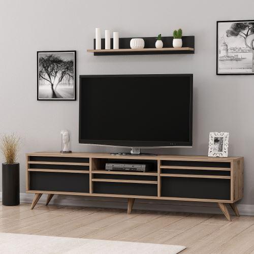 homemania meuble tv hira moderne avec portes etageres pour salon noyer noir en bois 180 x 35 x 48 cm