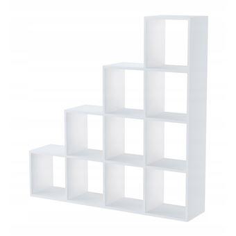 huelva etagere escalier contemporaine 10 niches casiers cubes 138x138x30 bibliotheque meuble de rangement multifonctionnel blanc