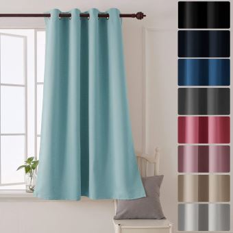 deconovo rideau occultant a oeillets rideau bleu ciel thermique 132x138cm pour enfants chambre salon decoration isolation phonique 1 piece