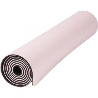 tapis de yoga pilates en tpe double face bicolor noir et rose 180cm x 60cm x 0 6cm