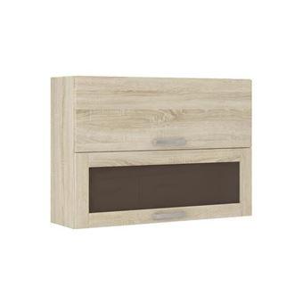 lassen meuble haut vitre de cuisine l 80 cm decor chene clair sonoma