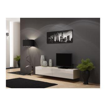 meuble tv design suspendu vito 180cm bois et blanc