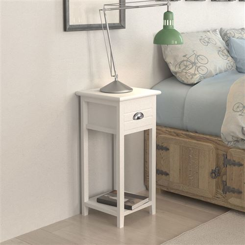 vidaxl table de chevet meuble pour telephone avec 1 tiroir blanc