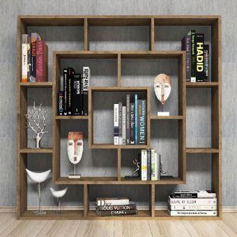 homemania bibliotheque frame avec etageres meuble de rangement pour salon bureau noyer en bois 125 x 20 x 125 cm
