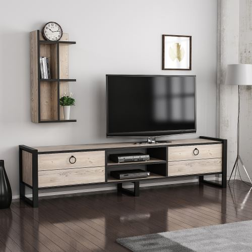 homemania meuble tv sena moderne avec bibliotheque avec portes etageres pour salon noir en bois metal 184 x 39 x 45 cm