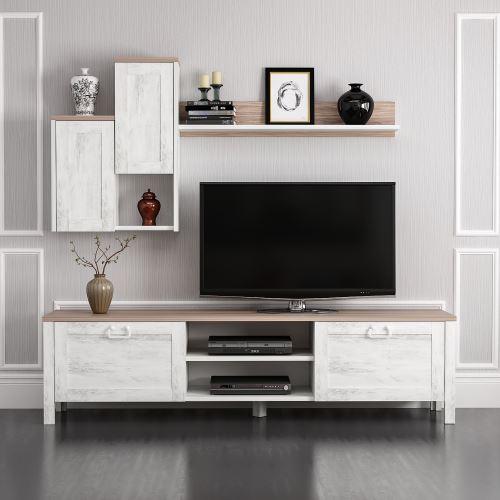 homemania meuble tv sento avec portes etageres pour salon blanc noyer en bois 160 x 35 x 42 cm