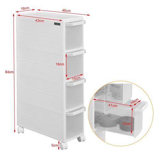 tour de rangement chariot pour rangement cuisine salle de bain etagere armoires de cuisine sur roulettes 4 tiroirs sobuy frg41 w