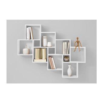 fmd etagere murale avec 11 compartiments blanc