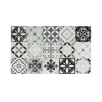 tapis de cuisine en vinyle effet carreaux de ciment mosai 49 5x83 cm noir et blanc