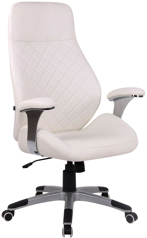 fauteuil de bureau layton en similicuir ou cuir veritable blanc similicuir